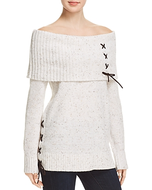 Love Scarlett OFF-THE-SHOULDER LACE-UP SWEATER