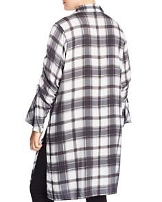 Love Scarlett Plus - Plaid Drawstring-Sleeve Tunic - 100% Exclusive