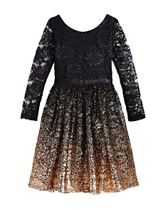US Angels - Girls' Ombré Glitter Lace Dress - Big Kid