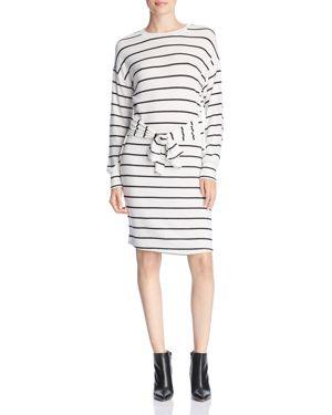 Striped Tie-Waist Dress in White/Black