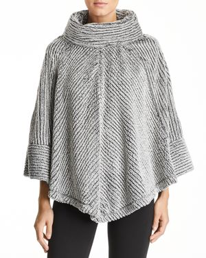 CAPOTE Faux-Fur Cowl Neck Poncho in Charcoal