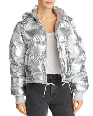 PISTOLA Shazia Metallic Hooded Puffer Jacket in Sterling Silver
