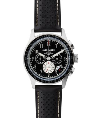 RACING CHRONOGRAPH LEATHER STRAP WATCH, 42MM