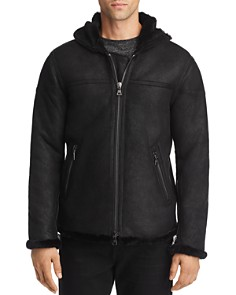 John Varvatos Collection - Hooded Zip-Front Shearling Jacket