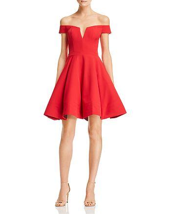 AQUA - Off-the-Shoulder Scuba Dress - 100% Exclusive