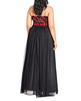 City Chic Plus - Embroidered Strapless Bustier Gown