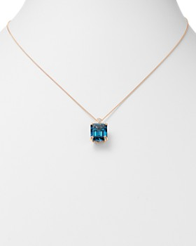 """Bloomingdale's - London Blue Topaz & Diamond Pendant Necklace in 14K Rose Gold, 18"""" - 100% Exclusive"""