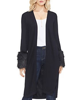 VINCE CAMUTO - Faux-Fur Cuff Duster Cardigan