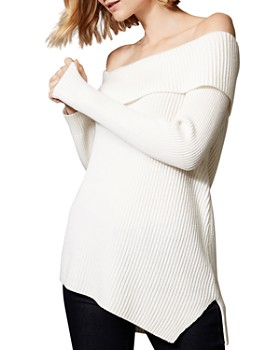 KAREN MILLEN -  Asymmetric Off-the-Shoulder Sweater