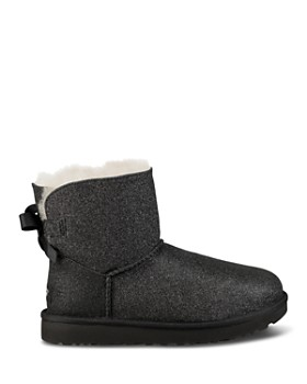 UGG® - Women's Bailey Bow Round Toe Glitter Suede & Sheepskin Short Booties