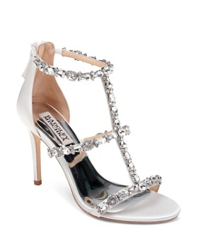Badgley Mischka - Women's Querida Embellished Metallic Satin High-Heel Sandals