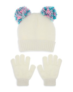 Capelli - Girls' Double Pom-Pom Hat & Gloves Set - Little Kid, Big Kid