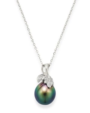TARA PEARLS 14K White Gold Diamond & Tahitian Cultured Pearl Pendant Necklace, 18 in Black/White