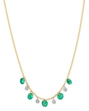 Meira T 14K Yellow Gold Drilled Emerald and Diamond Adjustable Dangle Necklace, 18