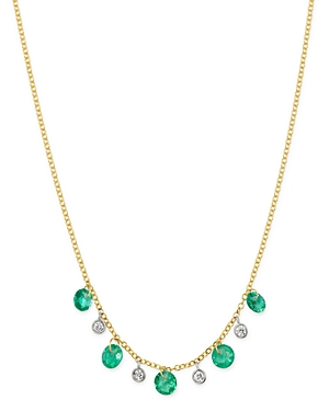 Meira T 14K Yellow Gold Drilled Emerald and Diamond Adjustable Dangle Necklace, 18-Jewelry & Accessories
