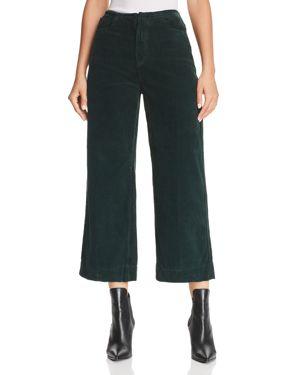 Ag Etta Cropped Wide-Leg Corduroy Jeans in Verdant 3117736