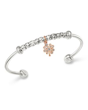 DODO Sterling Silver Four-Leaf Clover Charm Brown Diamond Cuff in Rose Gold/Silver