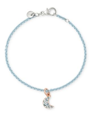 Sterling Silver Moon Charm Blue Topaz Bangle Bracelet by Dodo