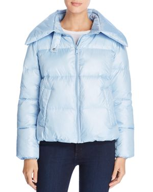 KENDALL + KYLIE Convertible Hood Short Puffer Coat in Ice Blue