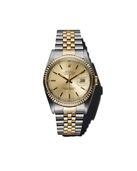 Pre-Owned Rolex - Stainless Steel and 18K Yellow Gold Two Tone Datejust Watch with Champagne Fluted Bezel Dial, 36mm
