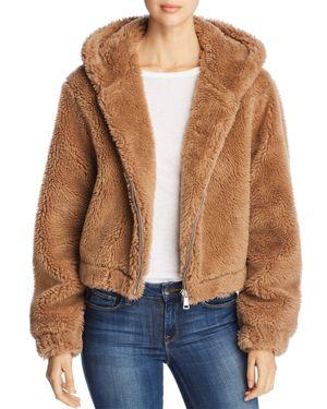 BAGATELLE Hooded Zip-Front Teddy Sherpa Jacket in Brown