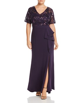 Adrianna Papell Plus - Floral Sequined Ruffle Gown