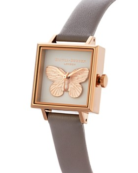 Olivia Burton - 3-D Butterfly Gray Leather Strap Square Watch, 22.5mm x 22.5mm - 100% Exclusive