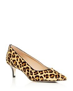Joan Oloff - Women's Callie Leopard Print Calf Hair Kitten-Heel Pumps