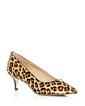 Joan Oloff - Women's Callie Leopard Print Calf Hair Kitten-Heel Pumps