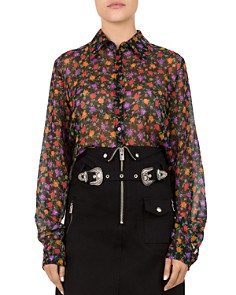 The Kooples - Floral Print Cropped Silk Shirt