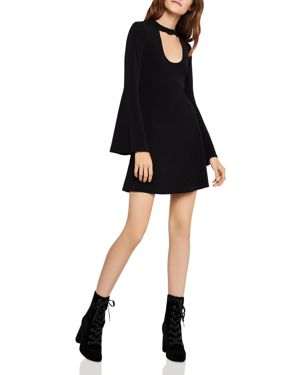 BCBGENERATION Mock-Neck Bell-Sleeve Fit-And-Flare Dress in Black