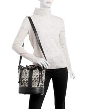 1e8f186faca0 ... Salvatore Ferragamo - Gancini Medium Jacquard   Leather Bucket Bag
