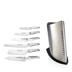 Global - 7-Piece Sai Stainless Steel Knife Block Set