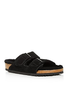 Birkenstock - Men's Arizona Suede & Shearling Slide Sandals
