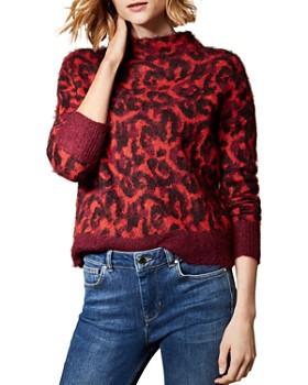 KAREN MILLEN - Brushed Leopard Jacquard Sweater