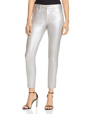 Charlie Ankle Jeans In Metallic Coated Silver