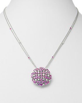 Roberto Coin - 18K White Gold Pink Sapphire & Diamond Cluster Pendant Necklace, 20""