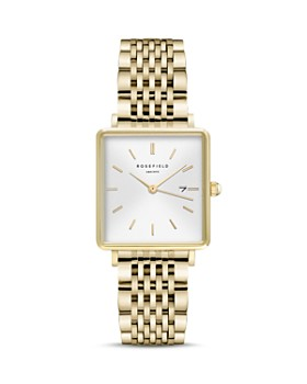 Rosefield - The Boxy Gold-Tone Link Bracelet Watch, 26mm x 28mm
