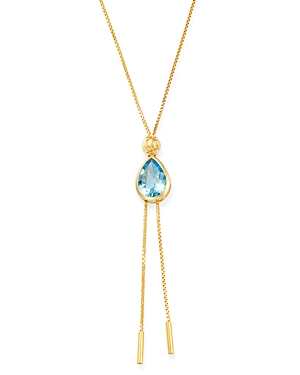 Bloomingdale's Blue Topaz Adjustable Slide Bolo Necklace in 14K Yellow Gold - 100% Exclusive