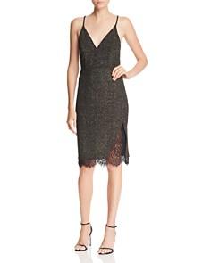 JOA - Metallic Lace-Trimmed Knit Dress