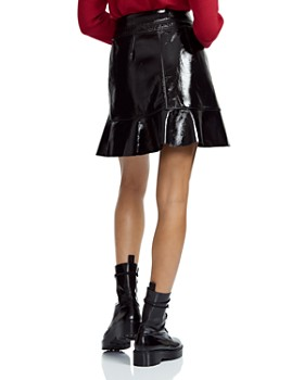 Maje - Janak Ruffled Patent Leather Wrap Skirt