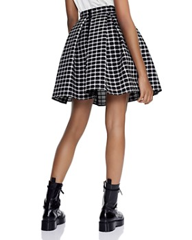 Maje - Oversize Pleated Checked Skirt