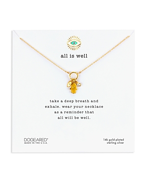 Dogeared All Is Well Hamsa Cluster Necklace in 14K Gold-Plated Sterling Silver, 18