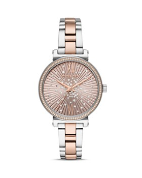 Michael Kors - Mini Sofie Rose Gold-Tone Crystal-Embellished Dial Watch, 36mm