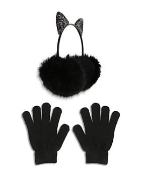 Capelli - Girls' Kitty Glitter Earmuffs & Gloves Set - Little Kid, Big Kid