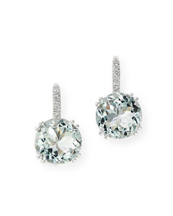 Bloomingdale's - Aquamarine & Diamond Drop Earrings in 14K White Gold - 100% Exclusive
