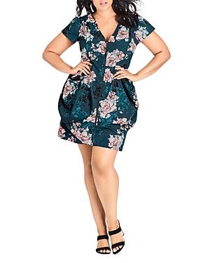 City Chic Plus Jade Blossom Zip-Front Dress