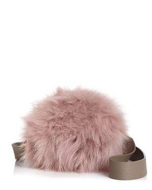 ARRON Aaron Small Leather & Fur Circle Shoulder Bag in Pink/Gold