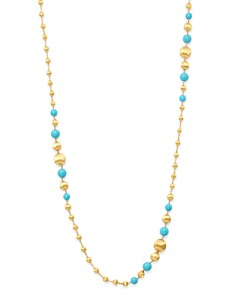 """Marco Bicego - 18K Yellow Gold Africa Turquoise Long Beaded Station Necklace, 36"""""""