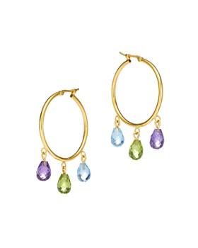 Bloomingdale's - Multi-Gemstone Briolette Hoop Earrings in 14K Yellow Gold